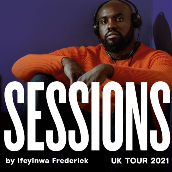 Actor Joseph Black sits on the floor with is arms across his legs, he wears headphones and an orange jumper as he looks directly into the camera. The typeface Sessions is in the foreground of the image.